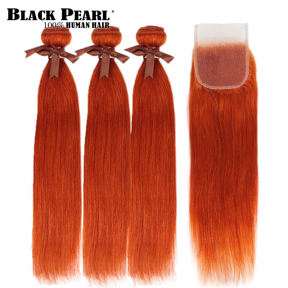 Black Pearl Orange Bundles With Closure Brazilian Remy Straight Human Hair Orange  Bundles With Closure Free Shipping